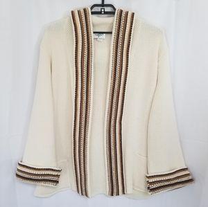 Vintage Boho Hippie Sweater Hooded Cream Brown